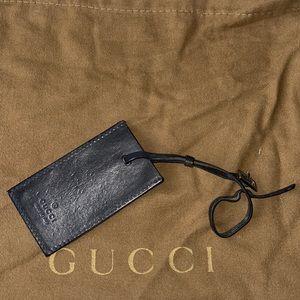 Authentic Gucci black luggage tag purse charm